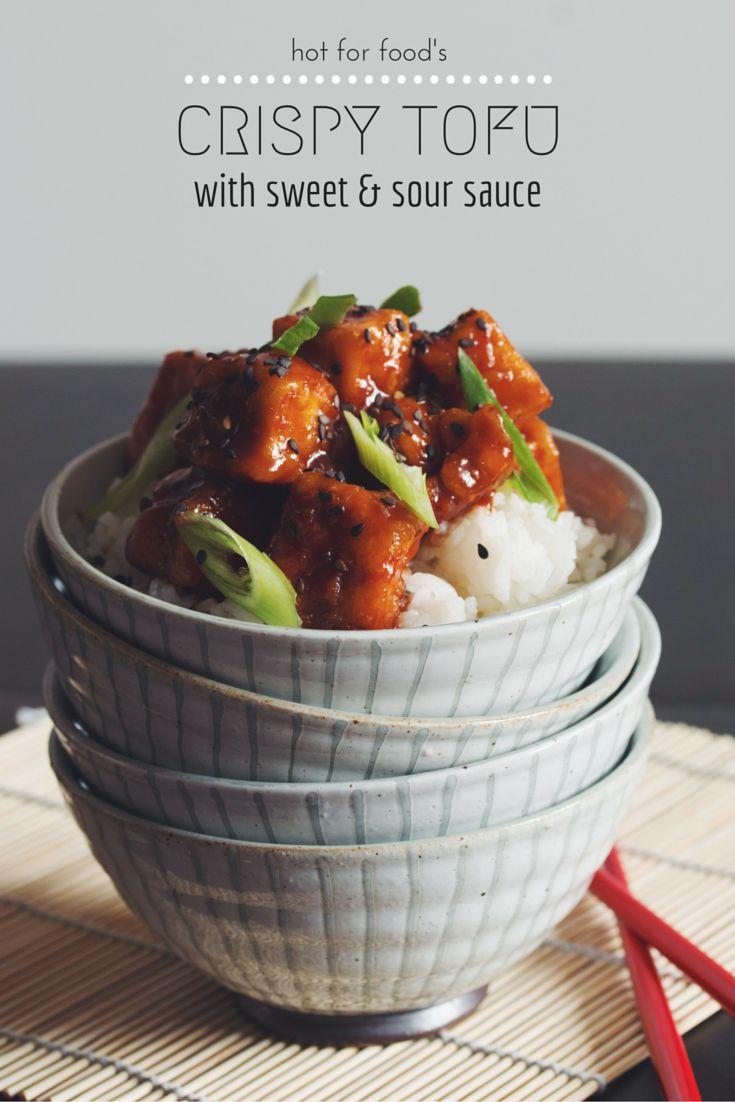 #vegan #glutenfree crispy tofu with sweet & sour sauce | RECIPE on hotforfoodblog.com
