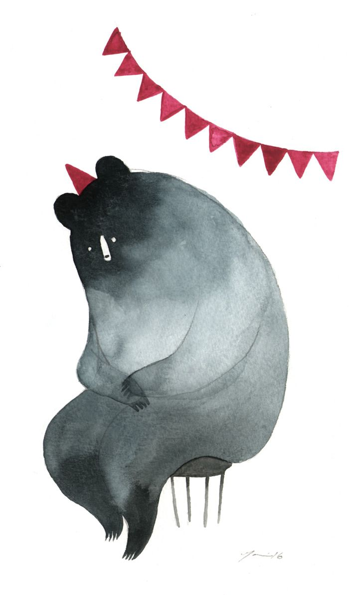 Birthday Bear by Mari Ahokoivu.     This little birthday bear was was made for an exhibition to celebrate 10 years of Daada publishing house in Galleria Kreutz, Porvoo 4.-27.8.2016