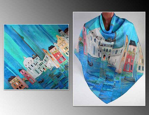 Batik shawl Venice handpainted on silk by lavanita on Etsy, $159.00