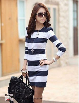 nautical clothing for women facebook | Beautiful Women Striped Blue Long Sleeve Dress - $18.50