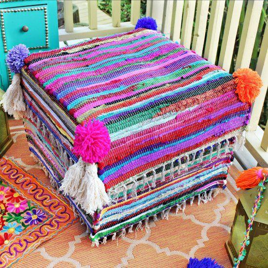 Rag Rug Ottoman Makeover