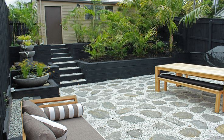 Patio, Paving, Timber Retaining, Steps and Garden - Mission Bay
