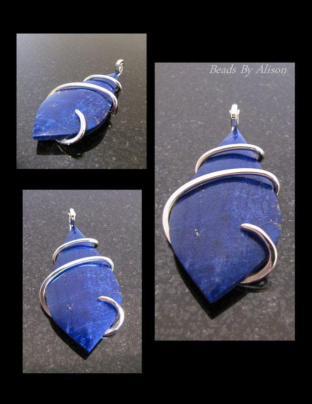 Lapiz Lazuli sterling silver pendant. Gemstones & Cabochons - Beads By Alison