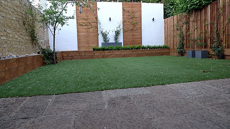 Clean lines grass and wall