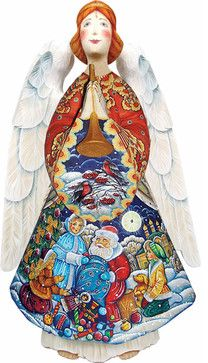 Artistic Wood Carved Gift Giver Angel with Santa Claus Sculpture traditional-holiday-accents-and-figurines