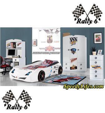 Rally 6 -  Arabalı Çocuk Odası Odası Beyaz