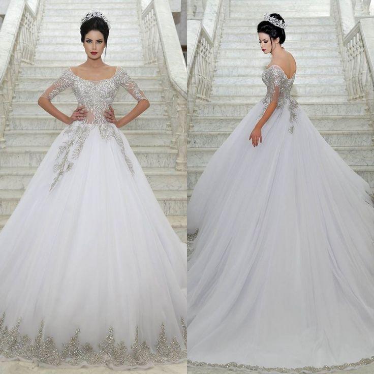 Custom Made Half Sleeves White Wedding Dresses Beaded Crystal Bridal Gowns Tulle Ball Gown Vestido De Noiva robe de mariage