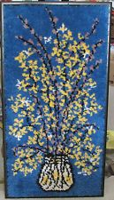 """Latch Hook Vintage Framed Large 45.5"""" x 24"""" Forsythia Pussy Willows Blue Retro"""