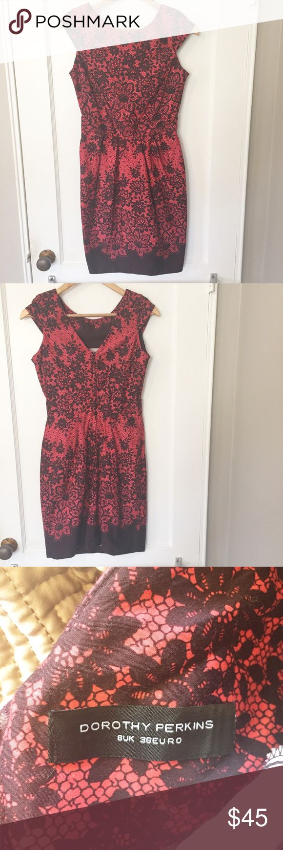 "Dorothy Perkins Red Dress UK Size 8 US Size 6 Laying Flat Bust: 16"" Length: 35"" Dorothy Perkins Dresses Midi"
