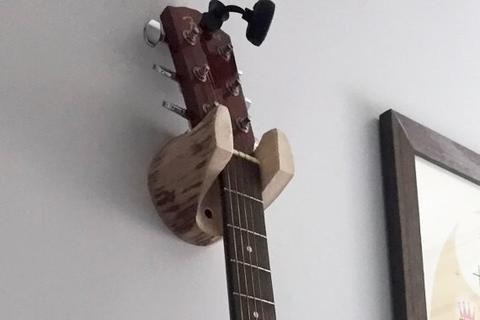 Guitar Hanger Rustic Log Wall-Mounted Unique Gift for Musician, 5 Year Anniversary Present, Banjo, Mandolin, Simple Storage Accesory-thatfamilyshop.com