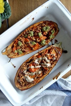 Gefüllte Auberginen, Vegan gefüllte Auberginen. Stuffed Eggplant