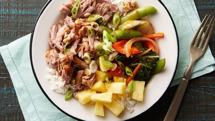 These delicious rice bowls come together with slow-cooked pork, steamed teriyaki vegetables and fresh pineapple.