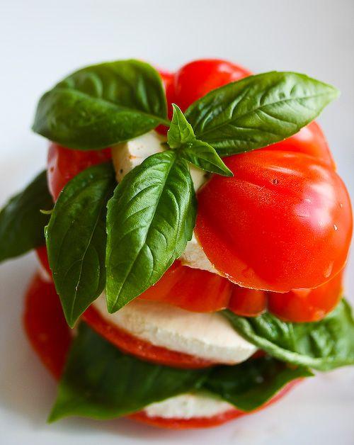 Caprese Salad: Basil Vinaigrette, Stacked Caprese, Food Ideas, Basil ...