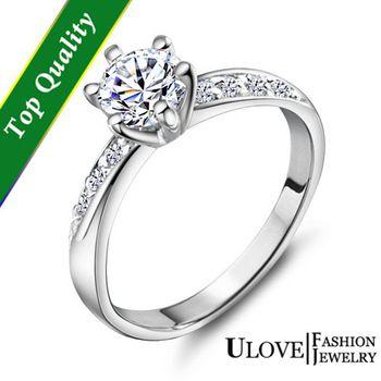 US$2.98   2014 nova simulado Dimond coroa em forma de anel de noivado para mulheres Sterling Silver Jewelry anel de cristal de zircônia acessó Ulove