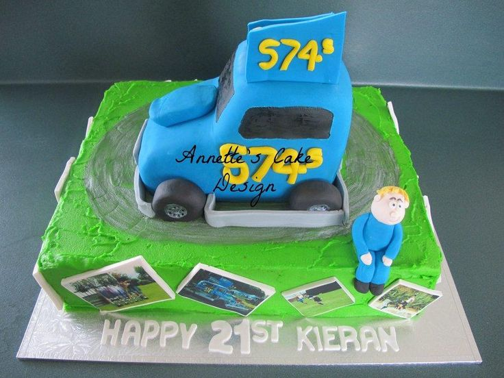 21st cake for a guy that loves his stock car. Made the stock car out of rice bubble crispy treats. Edible icing images of photos from though out his life.