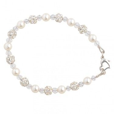 Scarlett pearl and swarovski crystal wedding bracelet with diamante ball detail and sterling silver heart clasp
