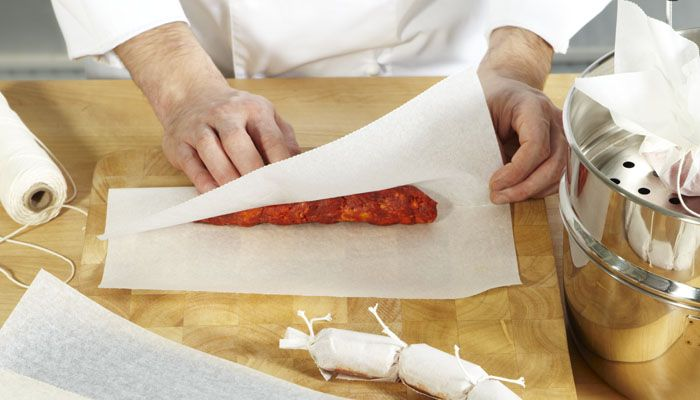 WRAPPING. Instead of using sausage skin, use SAGA Cooking Paper to steam cook sausages. Remove the paper before serving.