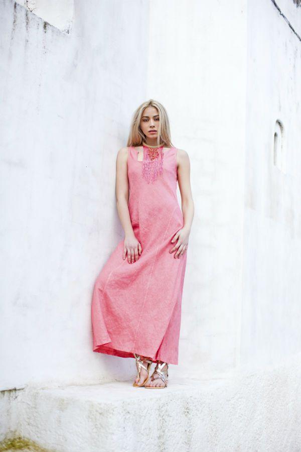 Haris Cotton,Linen Dress 1375 Frozen Strawberry