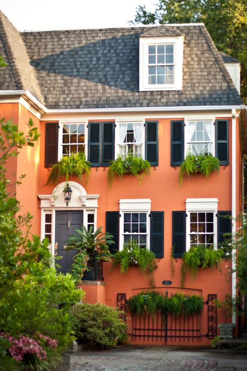 Great  house and colors...Charleston, SC: Charleston Sc, Beautiful Homes, Exterior, Color, Dream, House, Place, South Carolina, Window Boxes