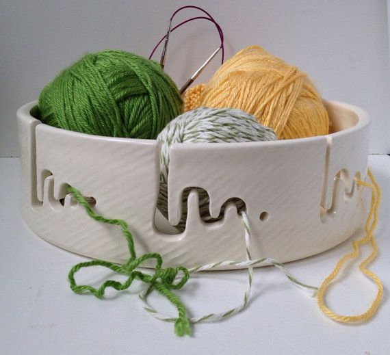 "Jumbo 10"" Yarn Bowl in White on Etsy, $100.00"