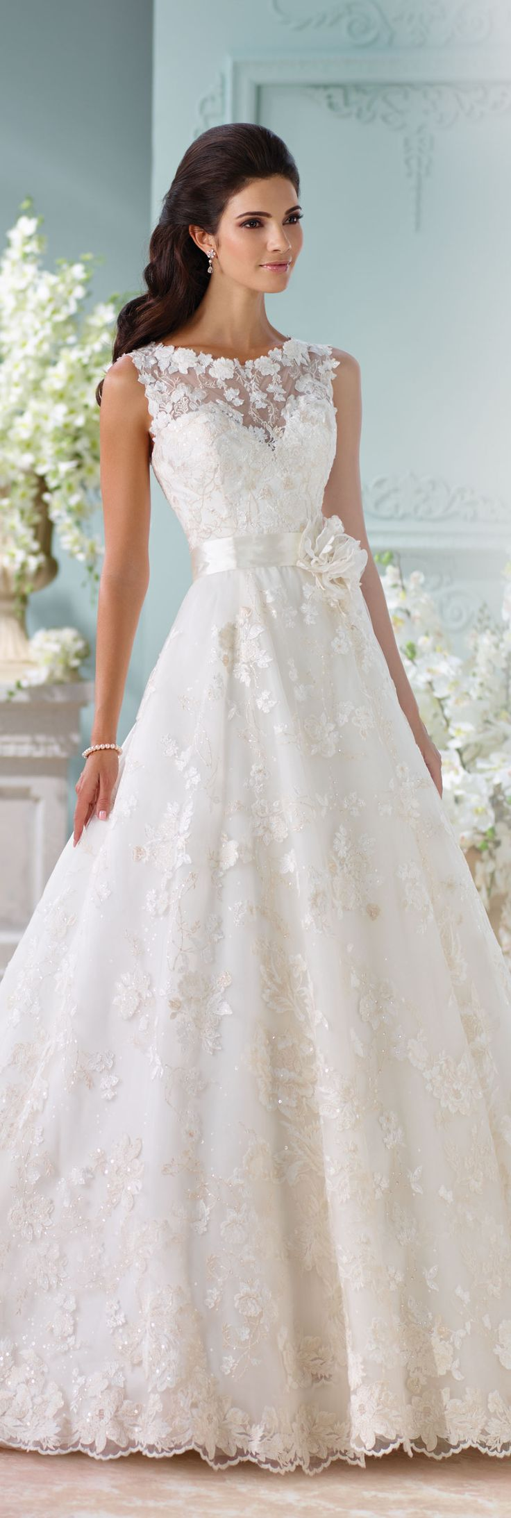 The David Tutera for Mon Cheri Spring 2016 Wedding Gown Collection - Style No. 116218 Kyra #laceweddingdress
