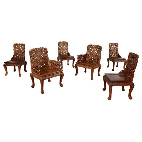 Carved Asian Teak Dining Chairs on Chairish.com