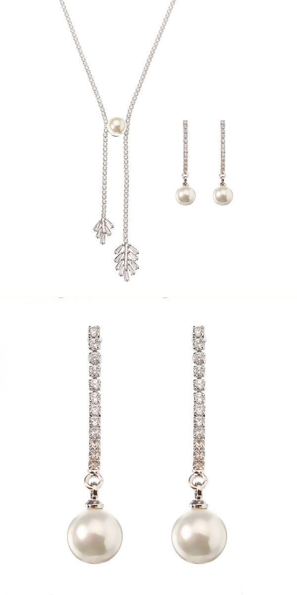 Bharatanatyam jewelry set online jassy® elegant women jewelry set pearl earrings shiny zircon leaf pendant necklace platinum plated #jewelry #set #alibaba #jewelry #set #for #engagement #jewelry #sets #kay #mr #t #jewelry #set