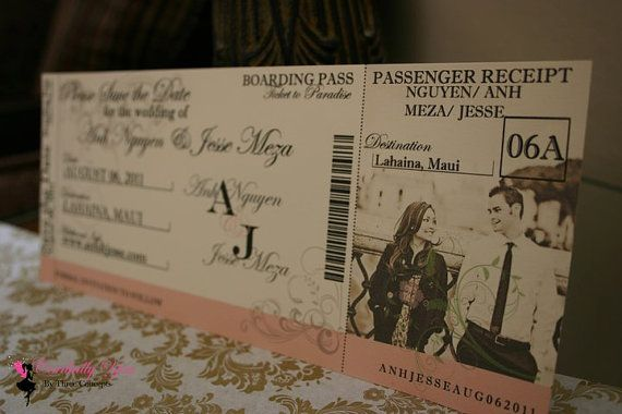 Boarding Pass Save The Date or Announcement by LovebyThreeConcepts, $2.10