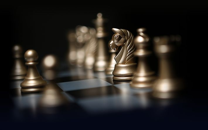 Download wallpapers chess, intellectual games, figure horse, chess board