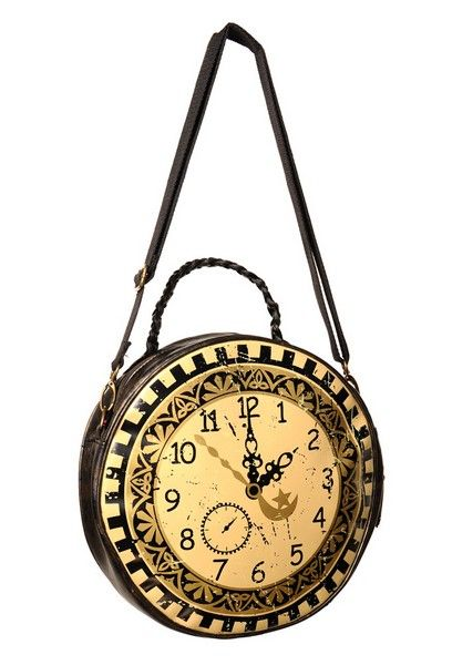 Banned - Round Clock Bag with Plait Handle [BBN-722] - £18.99 : Gothic Clothing, Gothic Boots & Gothic Jewellery. New Rock Boots, goth clothing & goth jewellery. Goth boots and alternative clothing