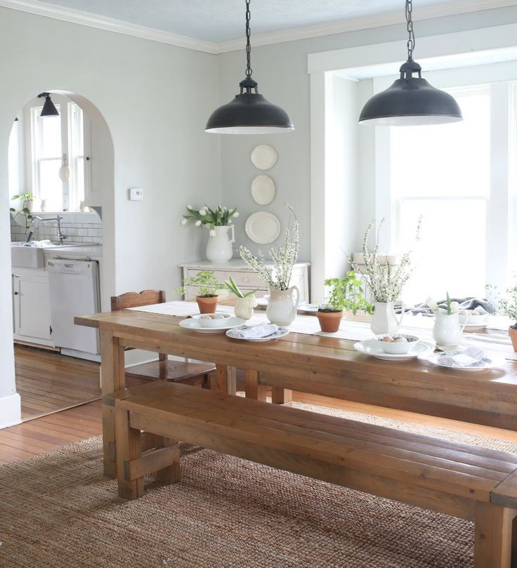Farmhouse Easter Dining Room and Table Setting