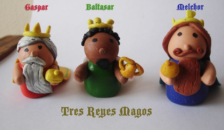 Tres reyes magos. The three wise men. Porcelanciron. Polymer Clay.