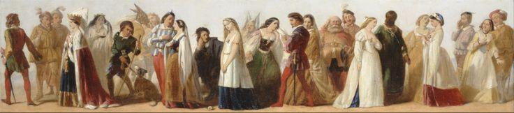 Verschillende personages uit toneelstukken van Shakespeare op een schilderij