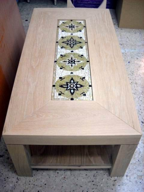 Handmade wooden table with mosaic
