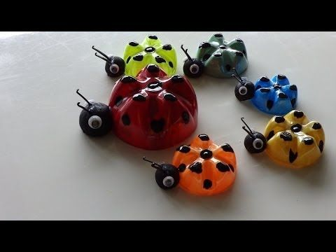 Recycled art ideas for kids ladybug 39 s family from plastic for Recycled water bottle crafts for kids