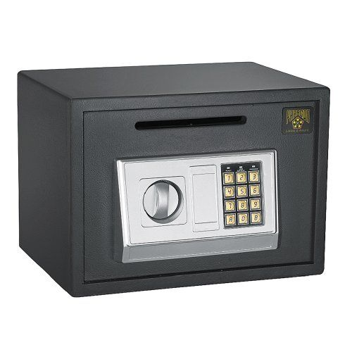 Paragon Lock and Safe 7875 Digital Depository Safe .67 CF Cash Drop Safes Heavy Duty Secure  Opens with secret PIN code or included keys (2 FREE KEYS); Runs on AASIZE(1.5V) batteriesSimple programmable Electronic Lock with buzzer and LED. 3 to 8 numbers, code can be changed an infinite number of timesConstructed of extra thick 11 gauge solid steel Inside tamper-proof hinges ; Safe opens to the right  http://industrialsupply.mobi/shop/paragon-lock-and-safe-7875-digital-depository-..