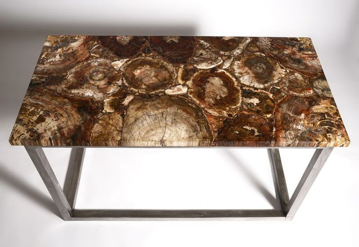 Large Fossilised Wood Table - Petrified Fossil Wood Marble Console Table
