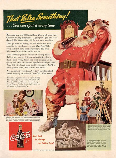 1942 Coca-Cola Christmas Santa Claus Original Coke Print Ad Large Single Ad - Between 10 x 13 to 11 x 14 inches, suitable for framing.