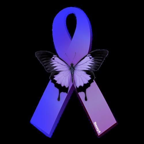 awareness ribbon in purple  u0026 blue