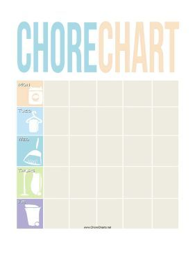 This printable weekly chore chart features pastel pictures of cleaning supplies for delegating tasks. Free to download and print:
