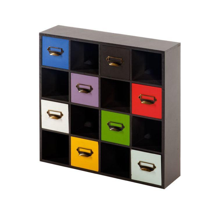 8 Drawer Storage Unit Black Cabinet Shelves Cube Multicoloured Modern Furniture