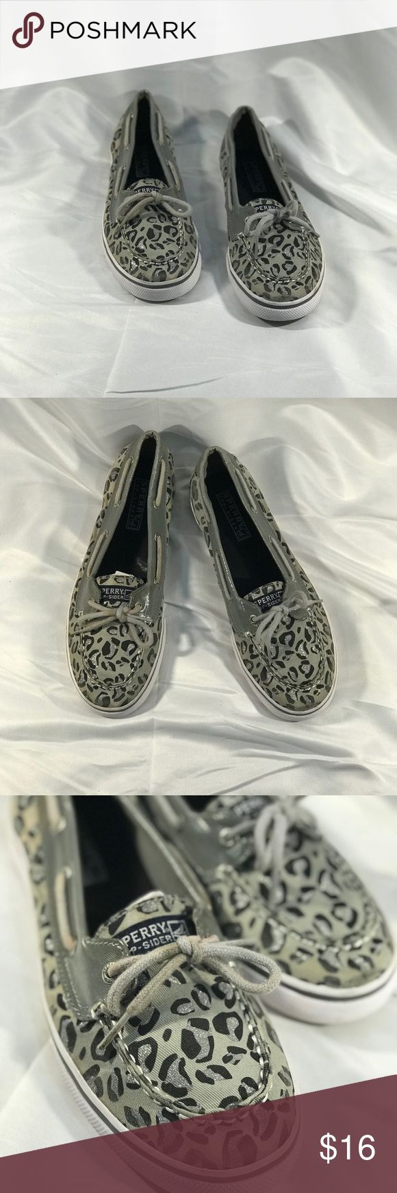 💕CUTE SILVER LEOPARD SPERRY BOAT SHOES▪️Sz 6▪️ Details..... Brand:  Sperry Top Sider  Size: 6   Measurements: FLAT  Material: Canvas  Color: SILVER    Fine Print: -Questions? If you have any questions please feel free to send me a message. Storage Conditions: Pet-free & Smoke-free. -Shipping&Handling: All items will be shipped within 1 Business Day (same day for most orders).   Thank You For Shopping 523EXCHANGE! Sperry Top-Sider Shoes Flats & Loafers