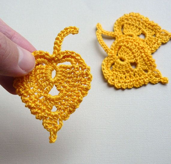 3 Crochet Leaf Appliques Gold Birch Leaves by CaitlinSainio