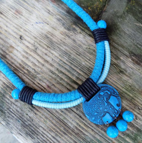 Statement necklace Turquoise Aventurine Rope by Jewelry4UOnly
