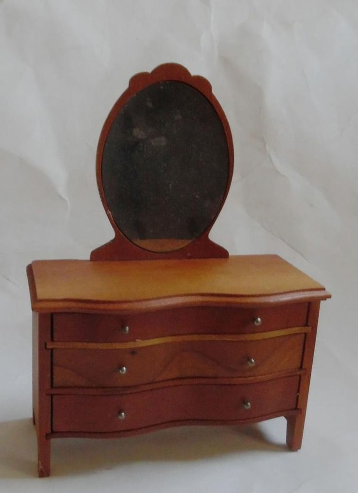 STROMBECKER CHERRY WOOD DRESSER VANITY TABLE WITH MIRROR DOLLHOUSE | #1785553681