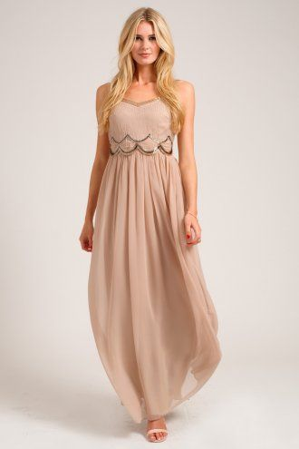 Little Mistress Mink Embellished Scallop Detail Chiffon Maxi Dress - currently in love with this dress. wish it was purple