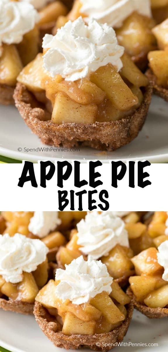 Apple Pie Bites are a quick and easy way to get your apple pie fix in a delicious hand held bite! Crisp cinnamon sugar shells are filled with a warm apple pie filling and topped with whipped cream or ice cream; the perfect fall bite. #ad