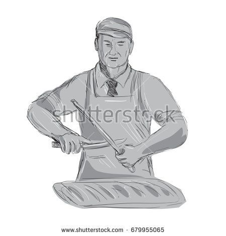 Illustration of a Vintage Butcher Sharpen Knife with cut of meat viewed from front done hand sketch Drawing style.  #butcher #sketch #illustration