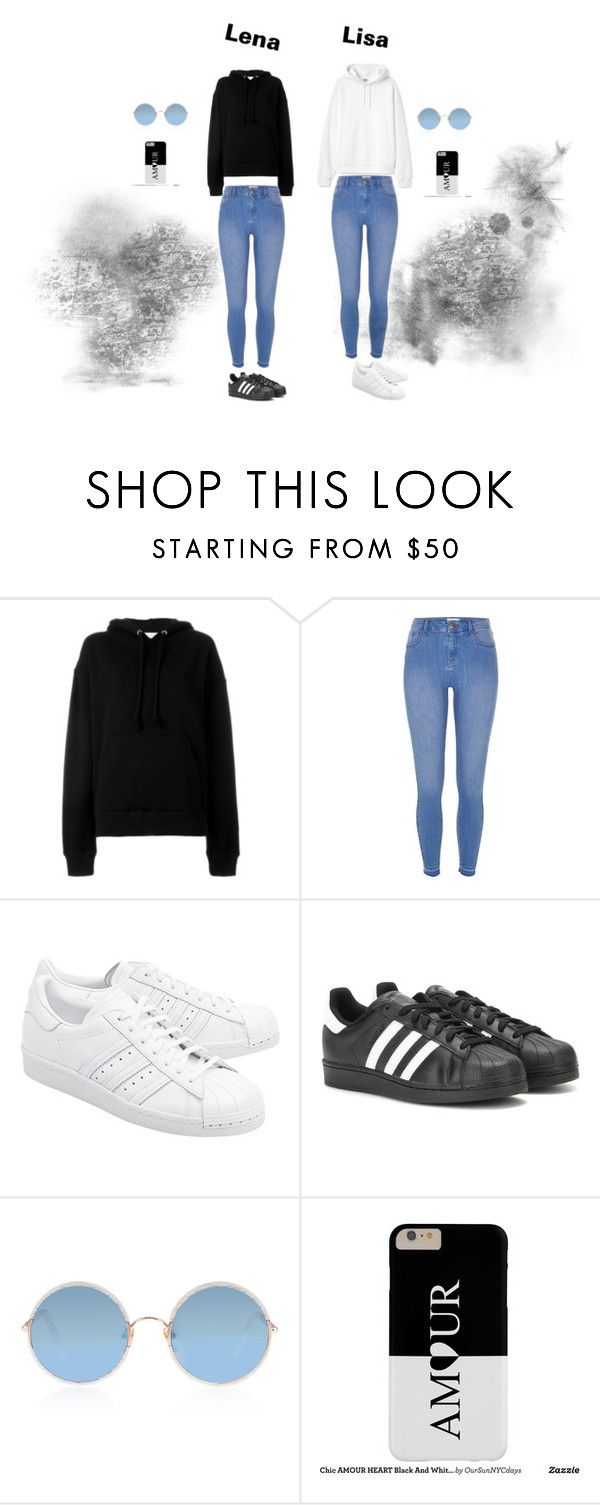 """""""Lisa and Lena"""" by daniella-sitte on Polyvore featuring IRO, River Island, adidas Originals, adidas and Sunday Somewhere"""