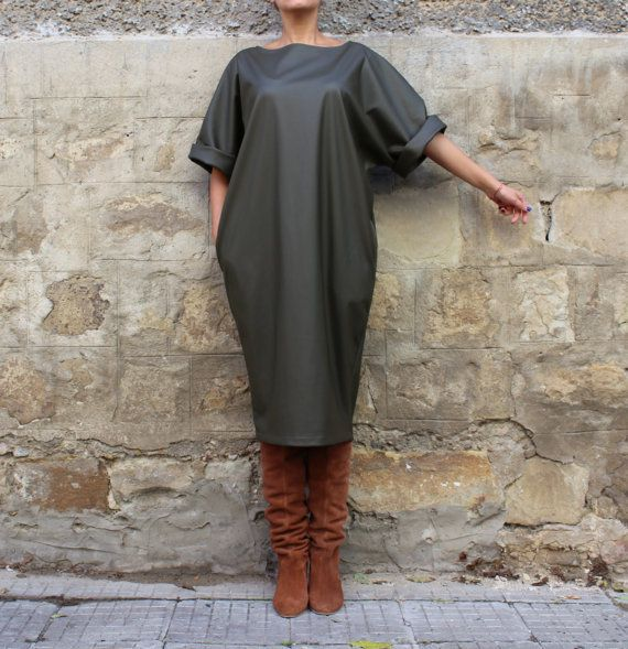 Olive Green Leather Maxi dress, Midi dress, Fall Winter dress, Plus size dress, Caftan, Party Dress, Oversized dress,   Casual dress